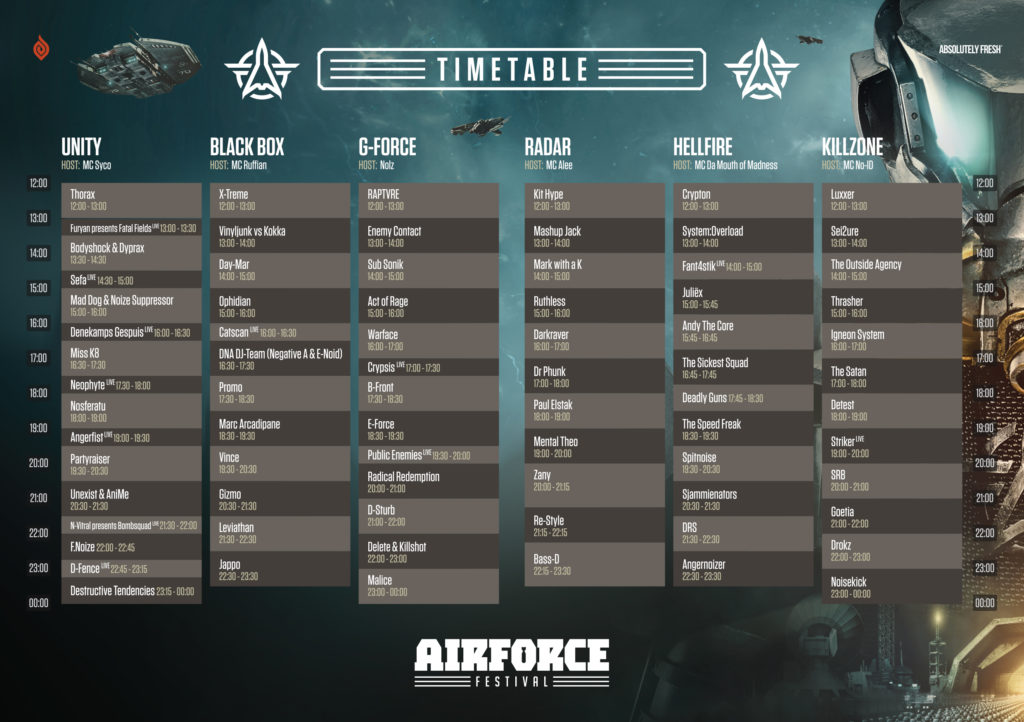AIRFORCE Festival 2018 timetable