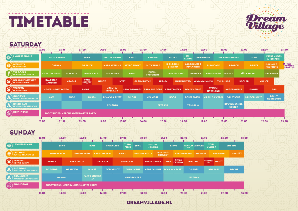 Dream Village 2018 timetable
