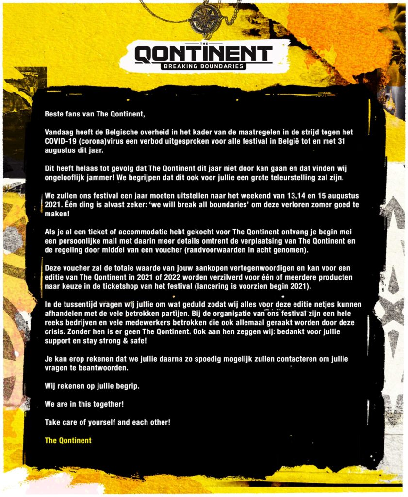 The Qontinent 2020 afgelast statement coronavirus festivals